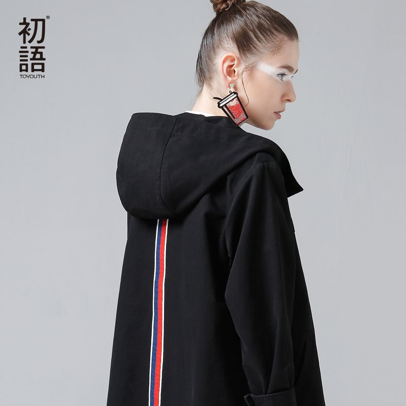 Toyouth Back Striped Jackets Women Spring New Short Coats Vintage Patchwork Hooded Outerwear Coat Loose Cotton Chaqueta Mujer