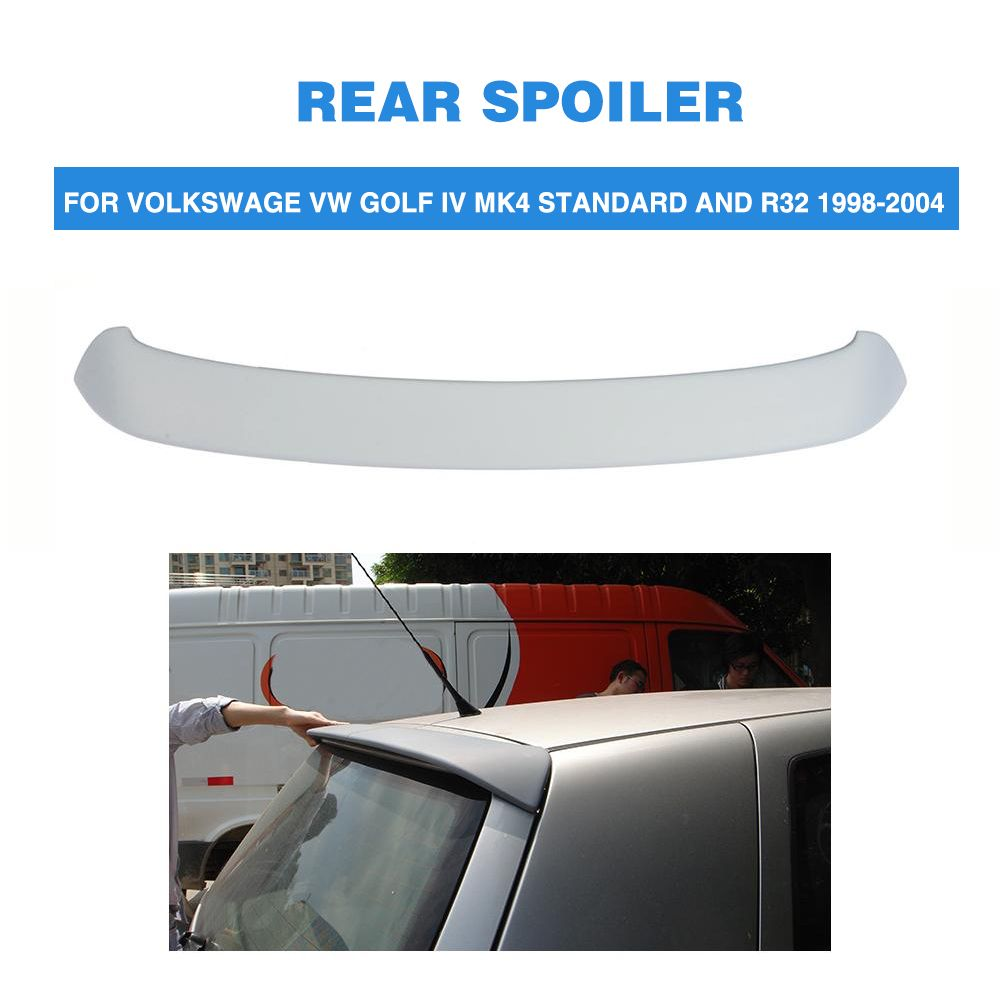 Rear Roof Spoiler Tail Wing For Volkswage VW Golf 4 IV MK4 Standard and R32 1998-2004 PU Unpainted Grey Back Windshield Spoiler
