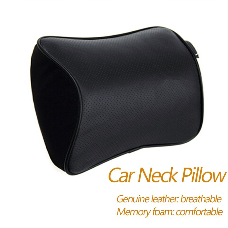 Car Styling 2pcs of Genuine Leather+Memory Foam Car Pillow Car Covers Auto Car Headrest Neck Pillow Seat Cushion Covers