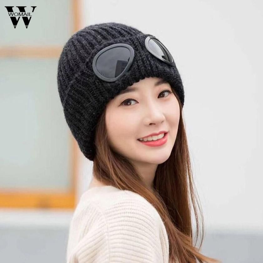 Womail Women Fashion Hats with Windproof Glasses Winter Hat Keep Warm Crochet Ski Hats For Female Woman Braided Caps Dec7