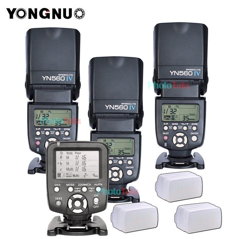 3x Drahtlose Speedlite Flash Yongnuo YN560 IV + YN560TX-Flash-Controller Für Canon Nikon mit freies 3 Flash Diffusor Box