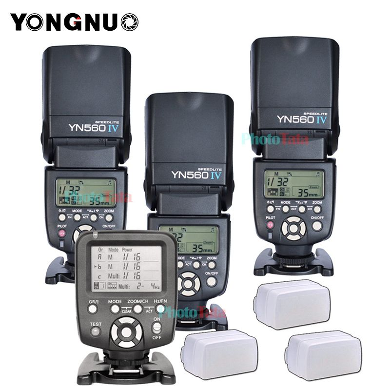 3x Wireless Speedlite Flash Yongnuo YN560 IV +YN560TX Flash Controller For Canon Nikon with free 3 Flash Diffuser Box