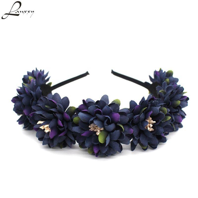 Lanxxy nouvelles femmes cheveux accessoires filles fleurs bandeaux plage coiffure mariée Floral couronne couronne bandeau bandes de cheveux
