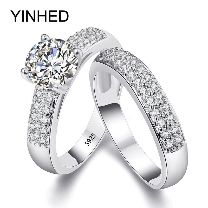 Yinhed 2017 hochzeit band ringe set solid 925 sterling silber 1,5 karat sona simulierten diamant verlobungsring für frauen zr284