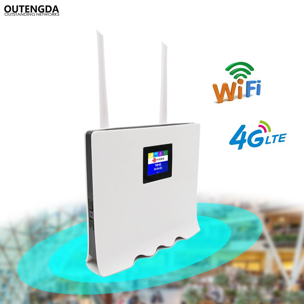 4G WiFi Router 300Mbps Wireless Wi-Fi Mobile LTE/3G/4G Unlocked CPE Router with SIM Slot 4LAN Ports Support Multi Bands 32 Users