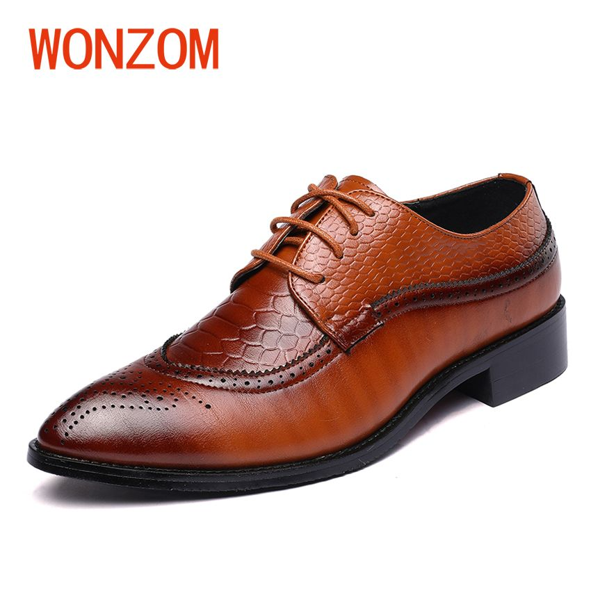 WONZOM 2018 New Brand Men's Dress Shoes Size 38-48 Black Classic Point Toe Oxfords For Man Fashion Party Shoes