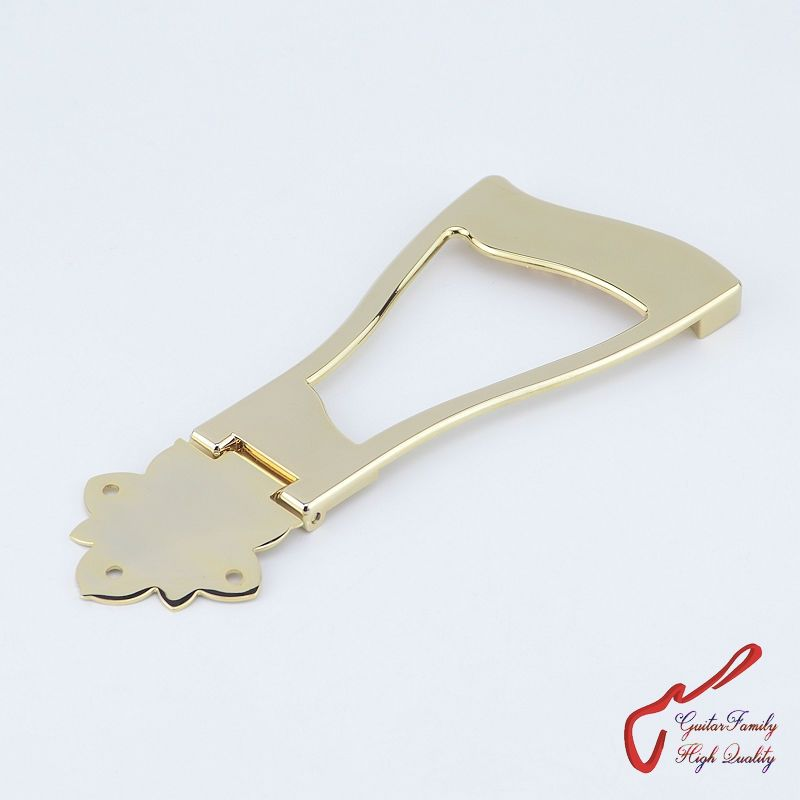 1 Set GuitarFamily Jazz Guitar Bridge Tailpiece For Hollow Body Archtop Guitar  Gold  ( #1181 ) MADE IN KOREA