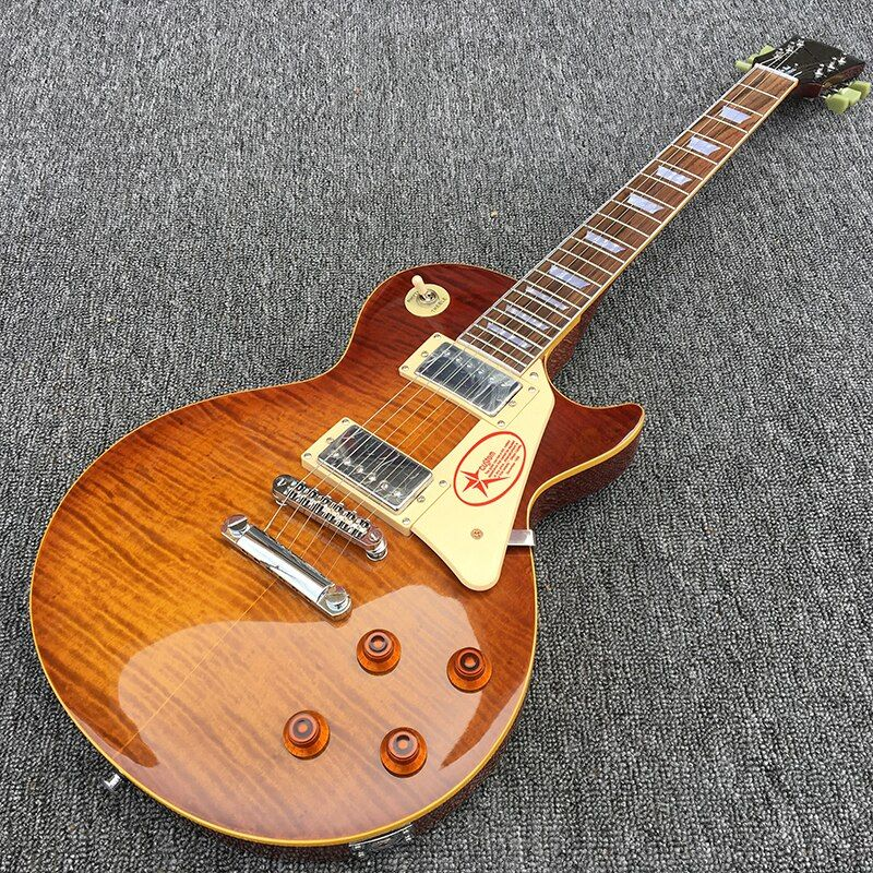 One piece Body & Neck, 1959 R LP Electric guitar with Tobacco burst Flame Maple top, Yellow binding, All color are Available!