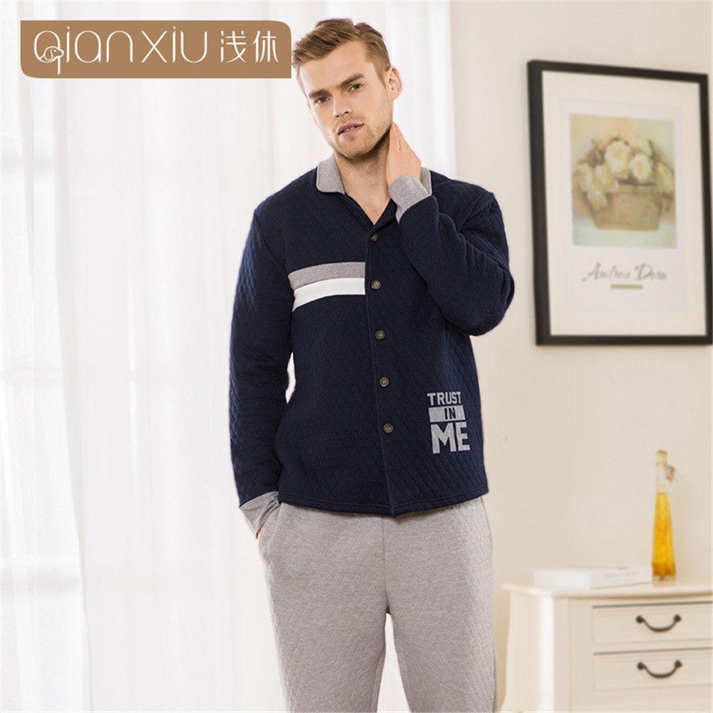 Зима Qianxiu Для мужчин пижамы утолщение полиэстер Для мужчин S Пижама Наборы для ухода за кожей Lounge одежда пары ночное мужской пижамы Домашняя ...