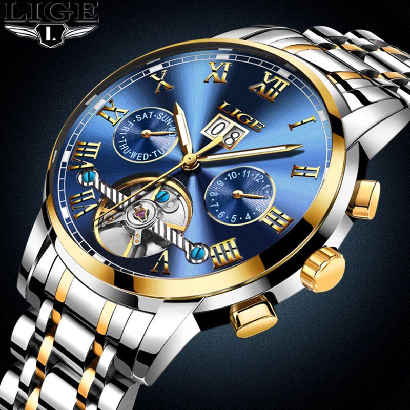 LIGE Ver Hombres de Negocios A Prueba de agua Reloj Para Hombre Relojes de Marca de Lujo de Moda Casual Sport Reloj Mecánico Relogio masculino