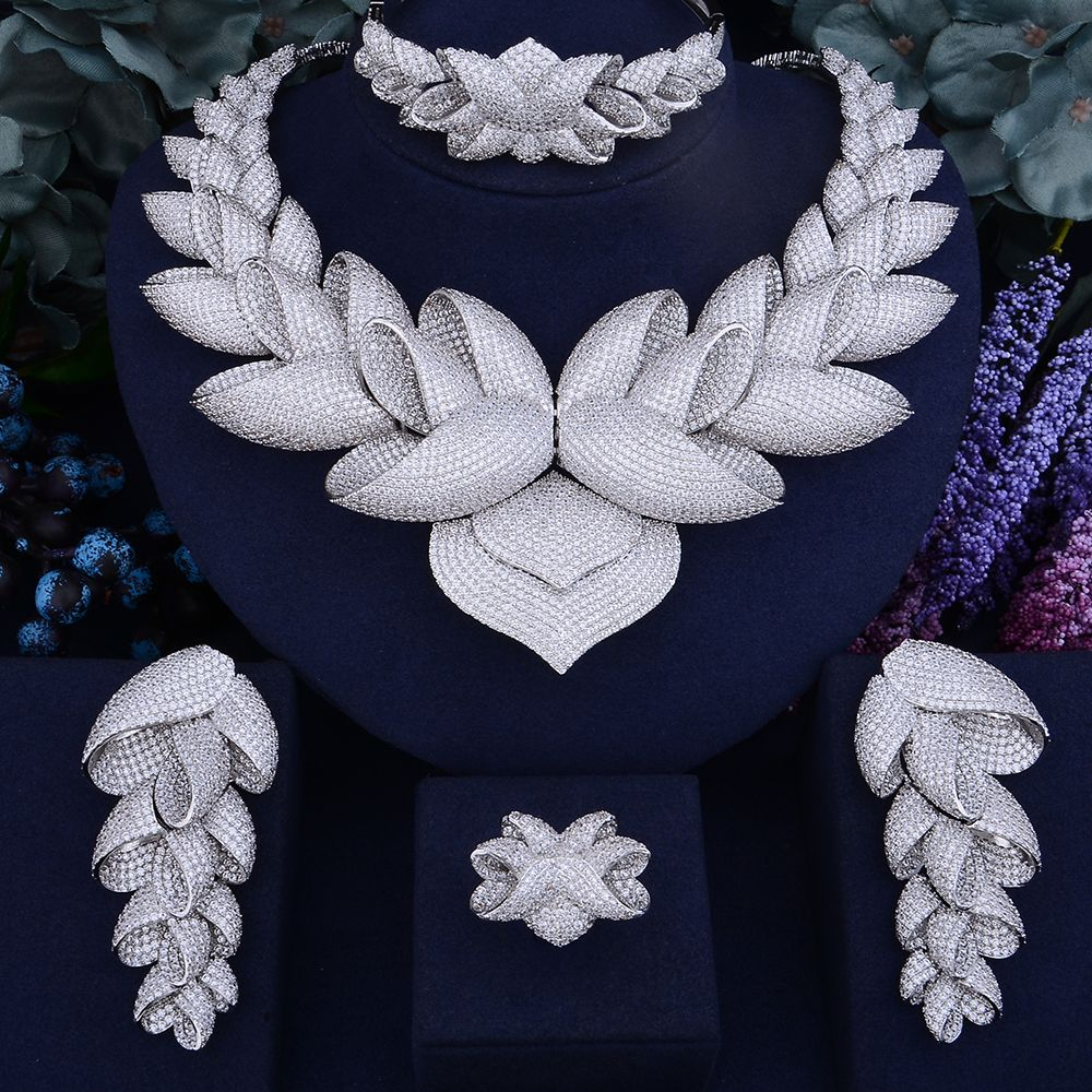 GODKI Luxury Lotus Flower Cubic Zirconia African Indian Necklace Earring Set Dubai Nigerian Wedding jewelry sets For Women Bride