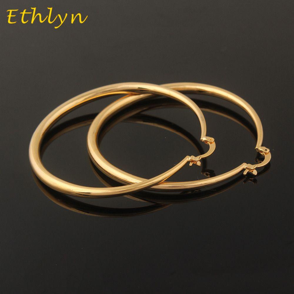 Ethlyn gold Earrings Ethiopian/ Israel/ African Gold Color Fashion Jewelry Wholesale Round Large Size Hoop Earrings Women