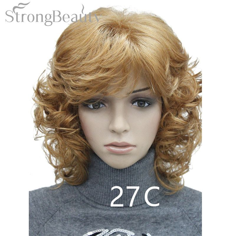 Strong Beauty Medium Short Curly Wigs Synthetic Women 's Hair Blonde/Black/ Burgundy Many Colors For Choose