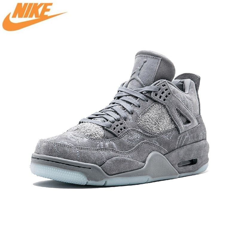 Nike Air Jordan 4 X KAWS Cool Gray AJ4 Suede Basketball Shoes, Original Shock-absorbing Outdoor Sports Shoes 930155 001 003