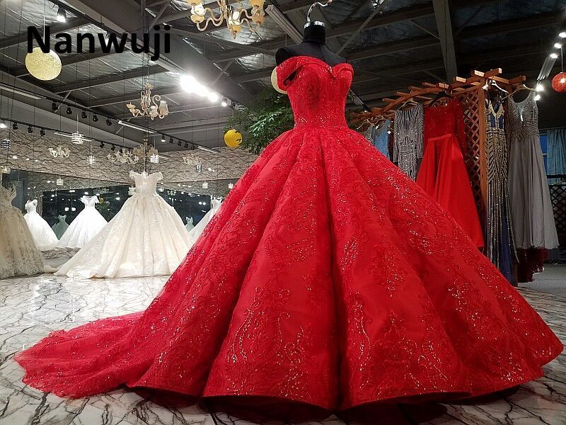 Real Photo cap Sleeve Beaded Ball Gown Evening Dress Luxury Cap Sleeve Red Eevening Dresses Crystal Size Plus