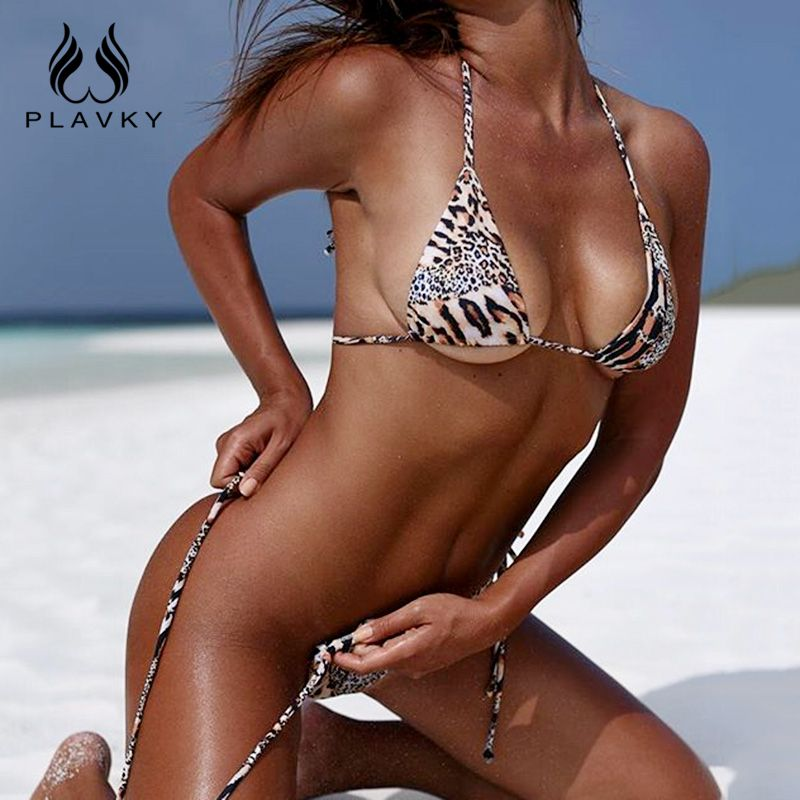 PLAVKY 2018 Sexy <font><b>Leopard</b></font> Halter Bandage String Biquini High Cut Swim Bathing Suit Swimsuit Micro Swimwear Women Brazilian Bikini