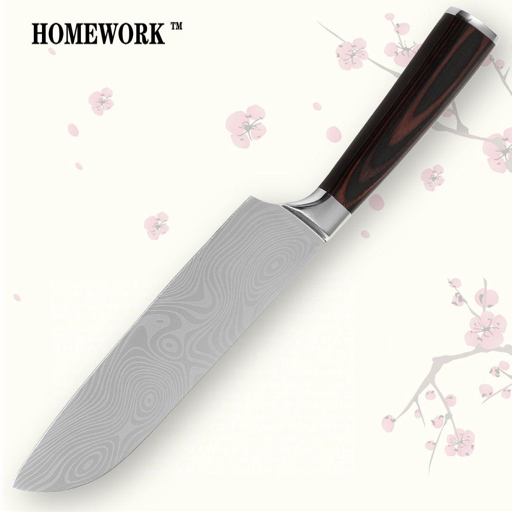 Santoku couteau 7 pouces couteau de cuisine durable sharp 7CR17 acier inoxydable damas veines nouveaux outils de cuisson vente chaude unique-produit