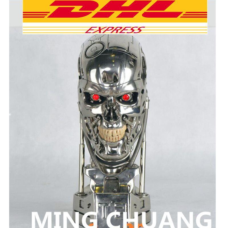 Terminator T800 1:1 Statue Arnold Schwarzenegger T2 Schädel Endoskeleton Lift-Größe Fehlschlag LED AUGEN Beste Qualität Resin Action Figure