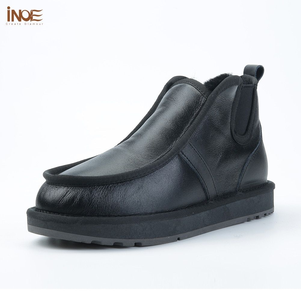 INOE real sheepskin leather sheep fur lined man winter snow boots for men winter shoes waterproof non-slip sole black grey 36-44