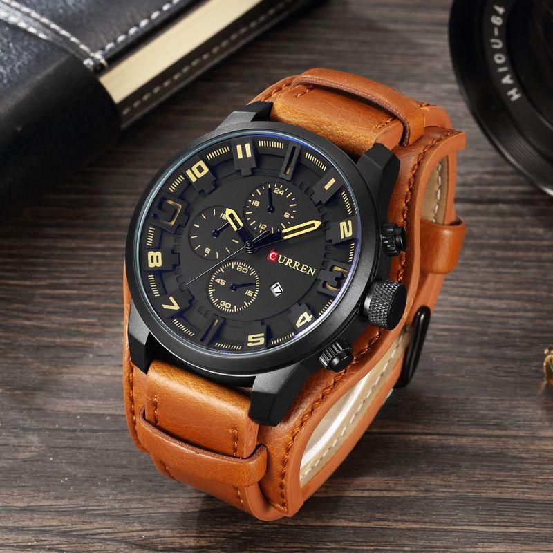 Curren 2018 Men Watch Top Brand Luxury Leather Strap Waterproof Sport Men Quartz Watches Military Male Clock Relogio Masculino