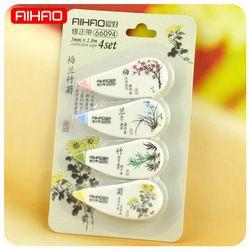 4 pcs/lot Style Chinois Plantes Correction Bande Mignon Kawaii Fleur Correcteur Bande pour enfants Fournitures Scolaires Papeterie Créative