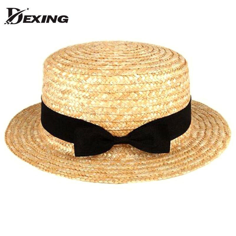 [Dexing] fashion flat straw hat summer hats for women  Contracted sun shade hat tourism GIRLS boater hat chapeau