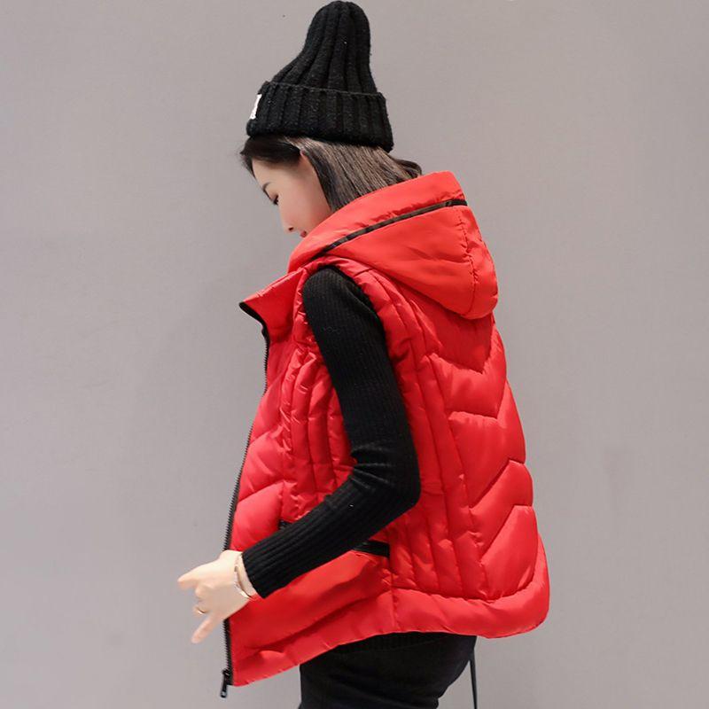 Gilets, gilet femme Cardigans veste hiver chaud femmes manteaux bas gilet avec capuche femme gilet manteau Colete Feminino