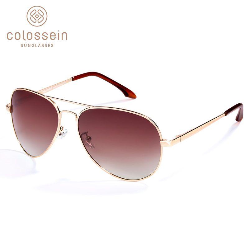 COLOSSEIN Lunettes De Soleil Polarisées Hommes Marque métal classique lunettes De pilote Pour Les Femmes Brun Objectif style De mode UV400 Gafas De Sol