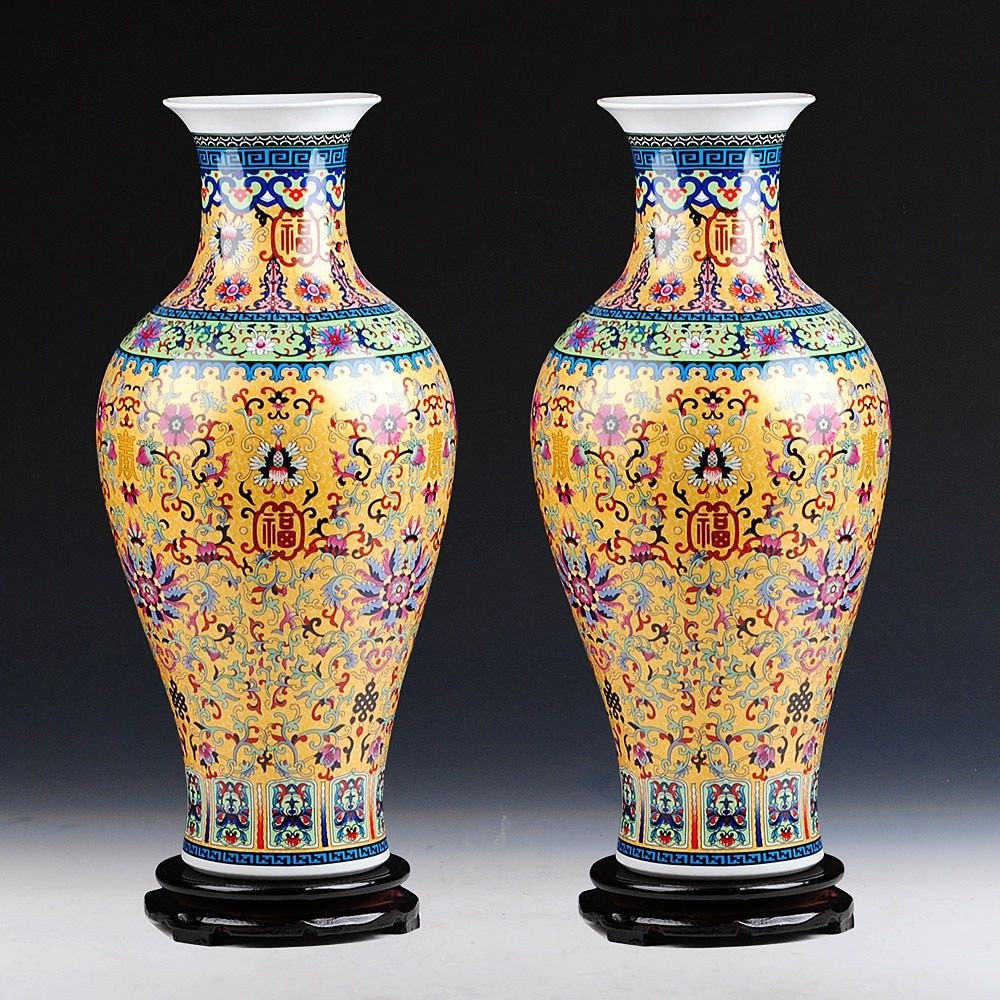 Luxury Jingdezhen Antique Longevity Porcelain Enamel Floor Vase Classical Decoration Large Chinese Vases Ancient Palace Vases