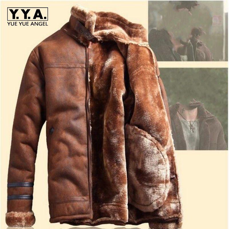 2018 Winter Mode-männer Stehen Kragen Mäntel Hohe Qualität Dickes Fell Futter Jacken Wildleder Warme Winterjacke Vintage Mantel