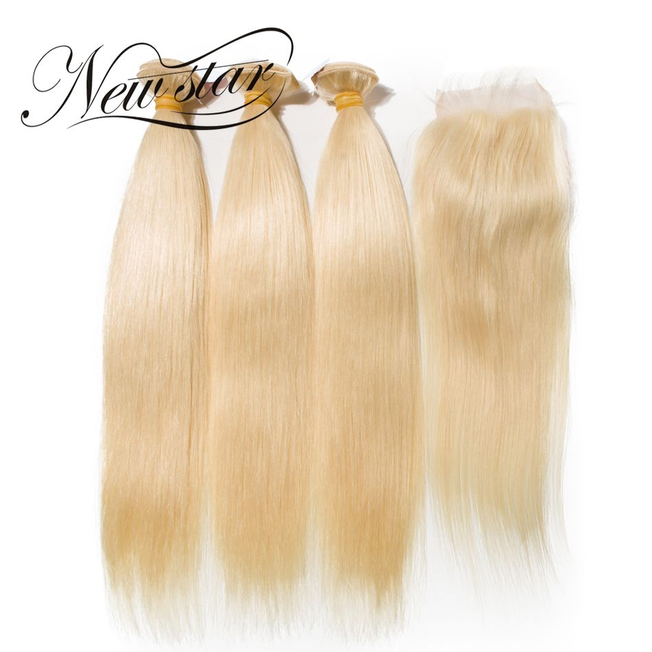 NEW STAR 613 Blonde Straight 3 Bundles With Closure Brazilian Free Part Remy Human Weave Hair Extension Double Weft Top Grade