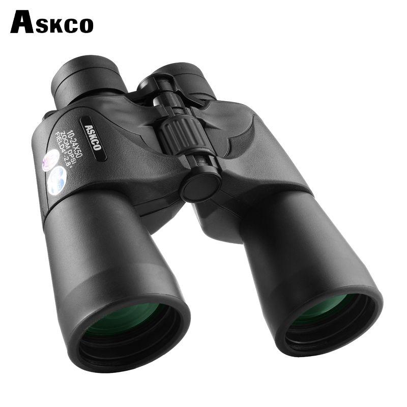 Askco Fernglas 10-24X50 Leistungsstarke Kontinuierliche Zoom Jagd teleskop Professionelle Fernglas High Definition Stickstoff Wasserdicht