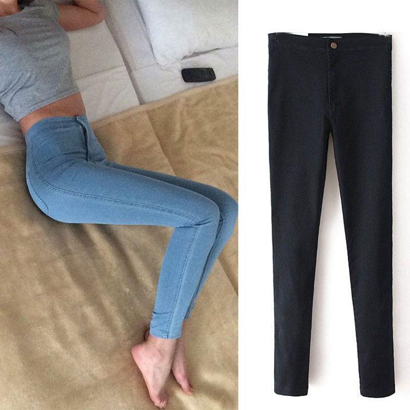 Mince Jeans Pour Femmes Maigre Taille Haute Jeans Femme Bleu Denim Crayon Pantalon Stretch Taille Femmes Jeans Noir Pantalon Calca Feminina