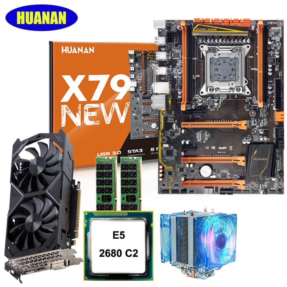 HUANAN deluxe X79 motherboard CPU Xeon E5 2680 2.7GHz with CPU cooler RAM 32G(2*16G) DDR3 RECC video card GTX1050Ti 4G 7.1 sound