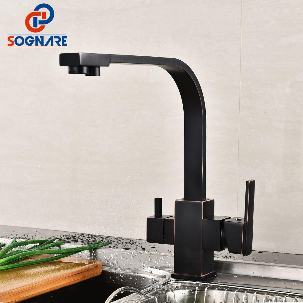 SOGNARE Trinken Wasserfilter Wasserhahn 360 Grad Schwenk Spüle Antique Schwarzes Quadrat Küchenarmatur Mit Wasserfilter