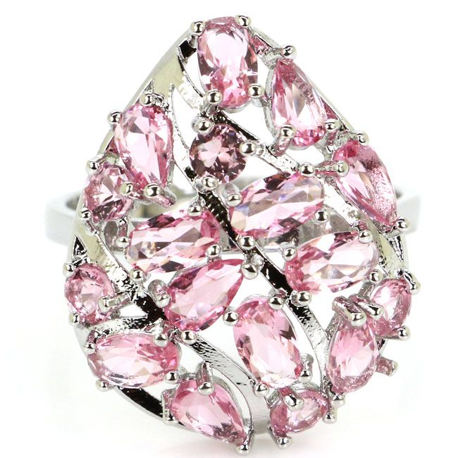 8.0# Stunning Pink Sapphirs Drop Ladies Wedding 925 Silver Ring 25x18mm