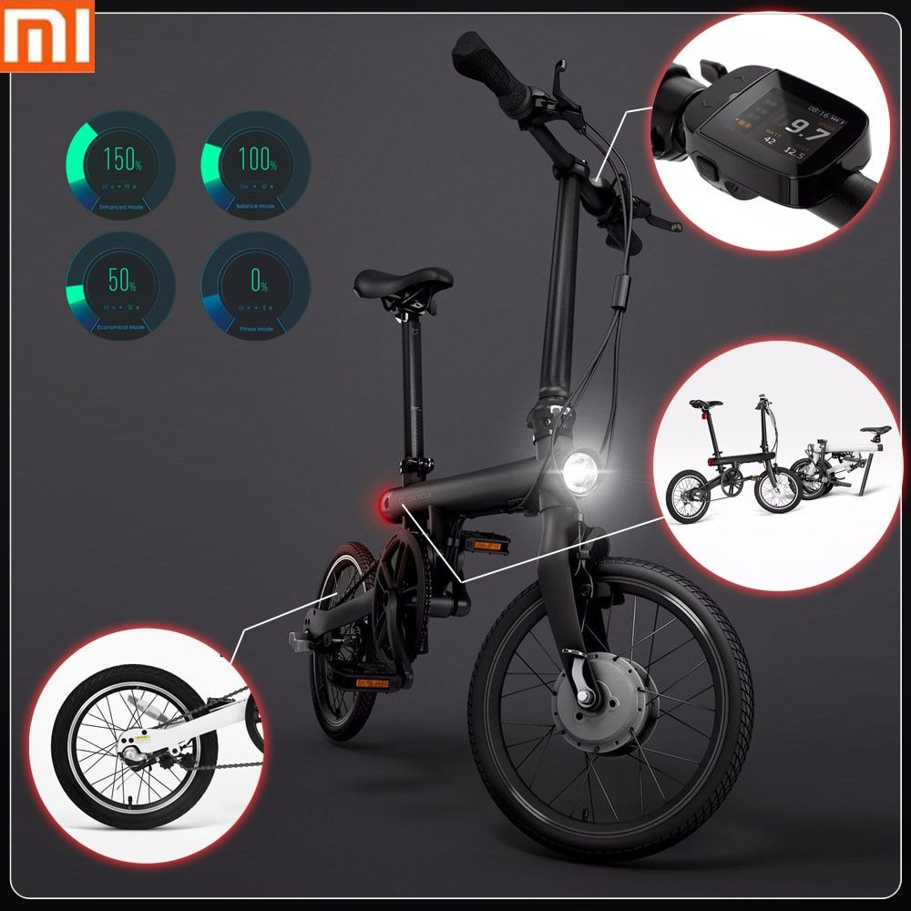 100% Original Xiaomi QiCYCLE - EF1 Smart Folding Electric Bike Bluetooth 4.0 16inch Mini Electric Bicycle APP Ebike Air Shipping