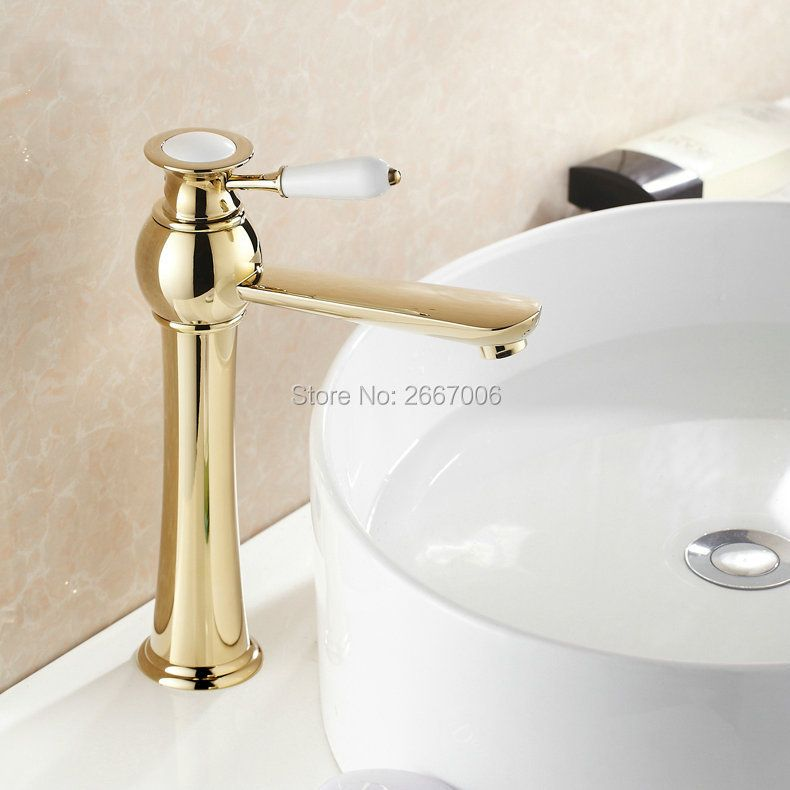 Free shipping Rotatable 360 degree Tall Type Golden Tap Bathroom Basin Faucet Brass Hot Cold Hose Tap Procelain Tap Swivel ZR420