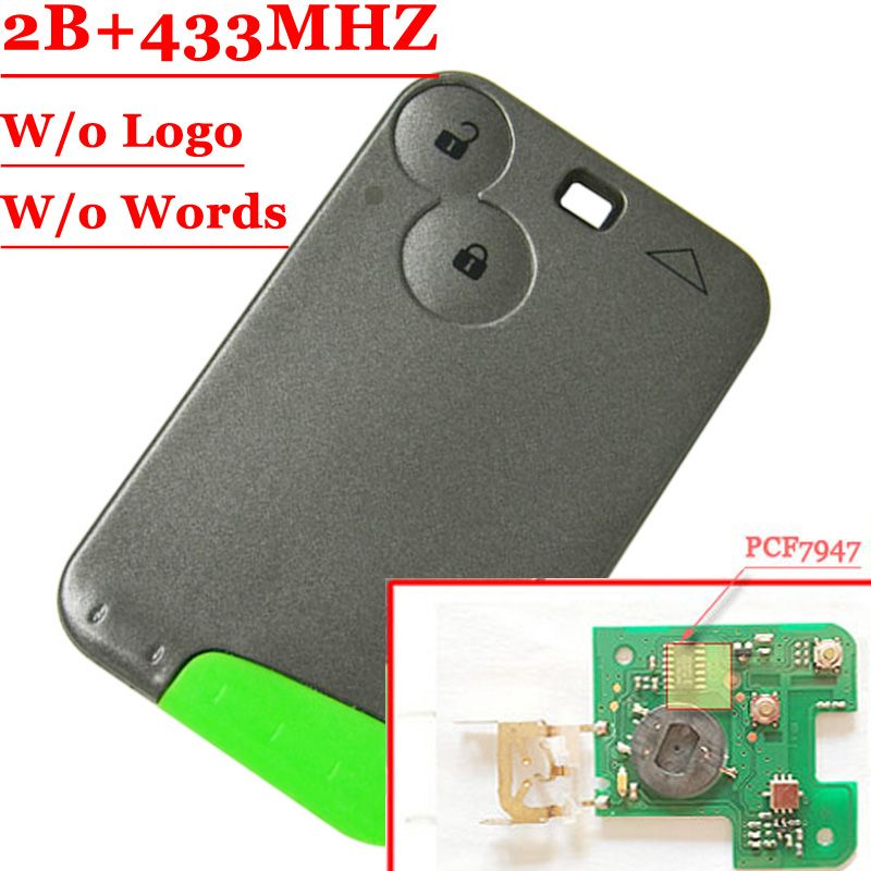Free Shipping (1pcs) 2 button Smart key 433MHZ for Renault Laguna espace card with pcf7947 chip and Emergency Key