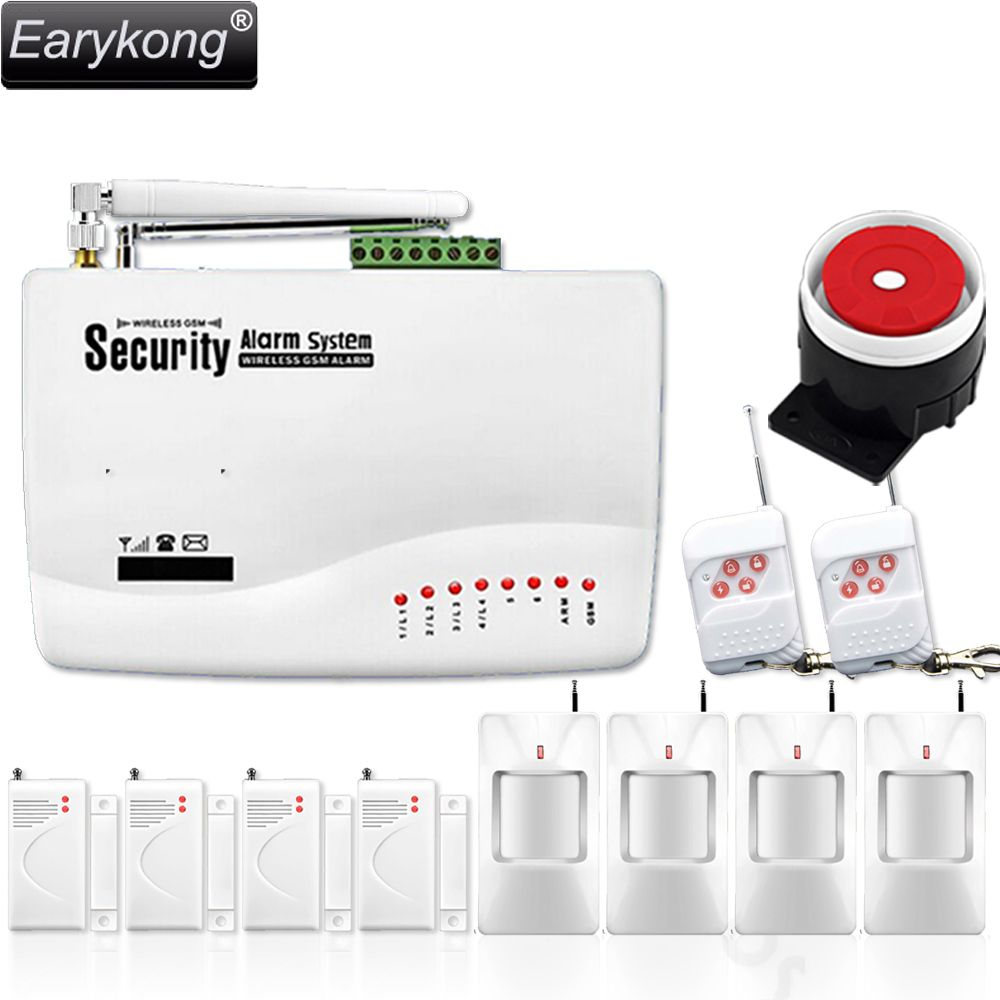 Free shipping wholesale 433 MHZ wireless GSM home Burglar security alarm system with 4 PcsPIR + 4 PCS magnetic door