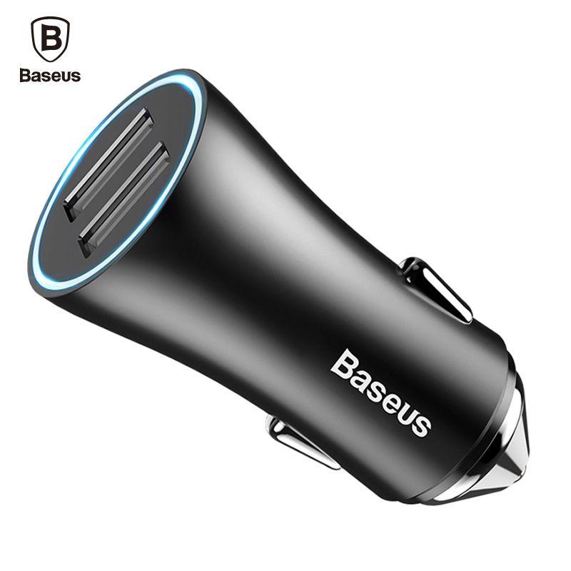 BASEUS Dual Порты и разъёмы USB Автомобильное Зарядное устройство для iPhone Xiaomi Samsung 2.4A Быстрая Зарядка адаптер Металл Мини USB автомобиль Зарядное ус...