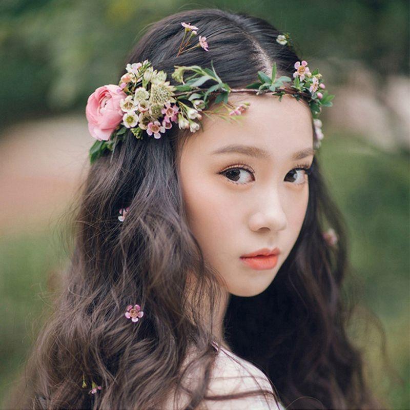 Mariée fleur couronne coiffure ornements enfants fête floral guirlandes mariée coiffure fleur cheveux bande photographie bijoux fleur