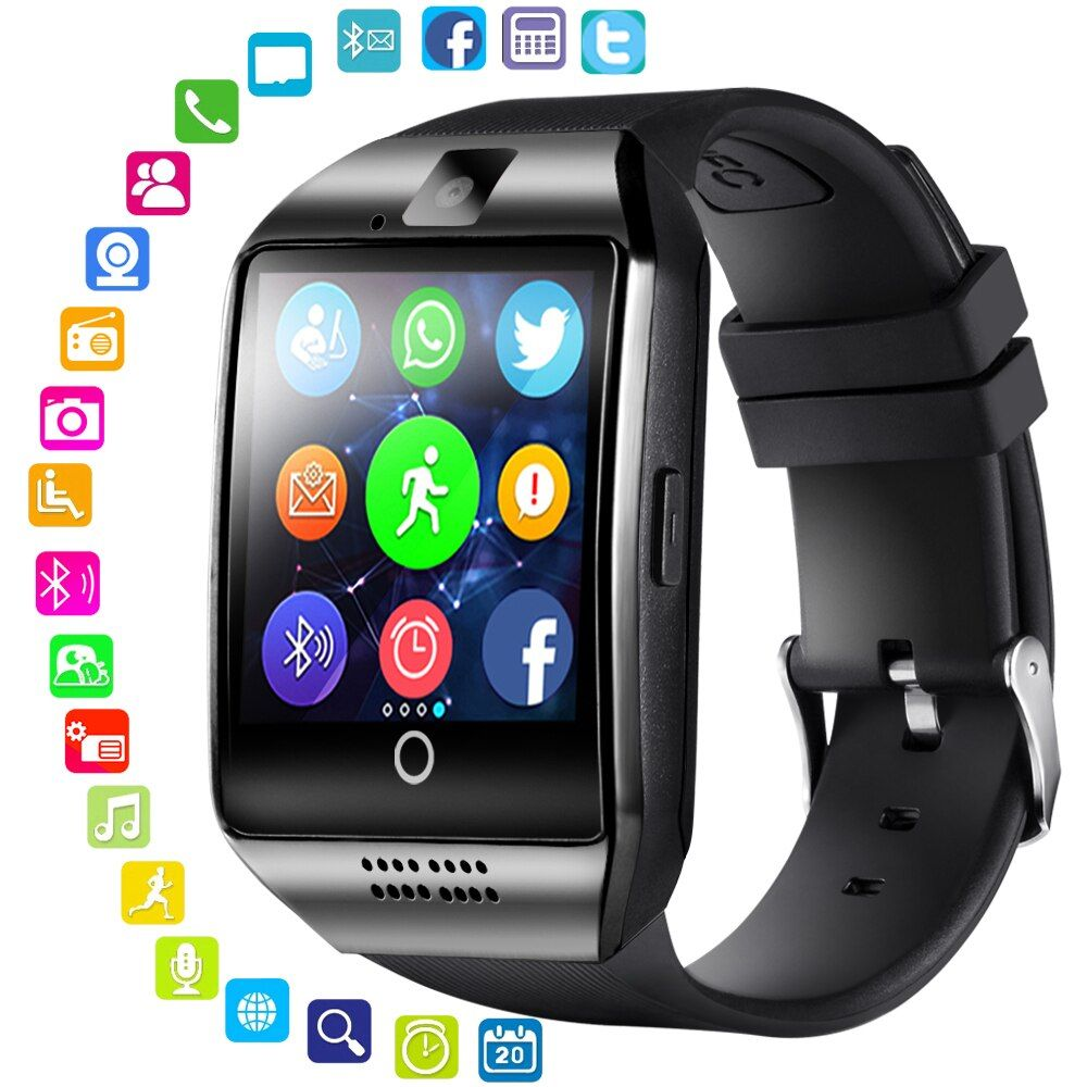 LEMFO Bluetooth Smart Watch Men Q18 With Touch Screen Big Battery Support TF Sim Card <font><b>Camera</b></font> for Android Phone Passometer