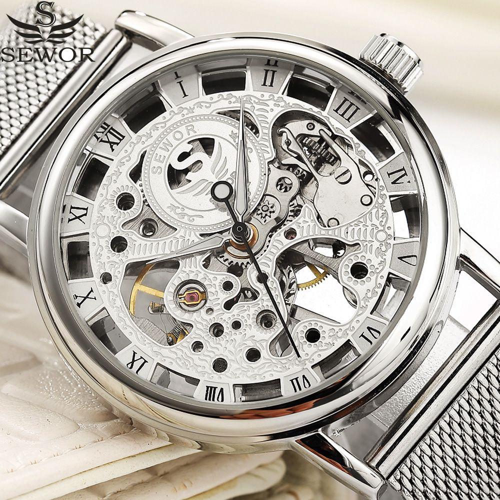 SEWOR Mechanical Watch Silver Fashion Stainless Steel Mesh Strap Men Skeleton Watches Top Brand Luxury Male Wristwatch