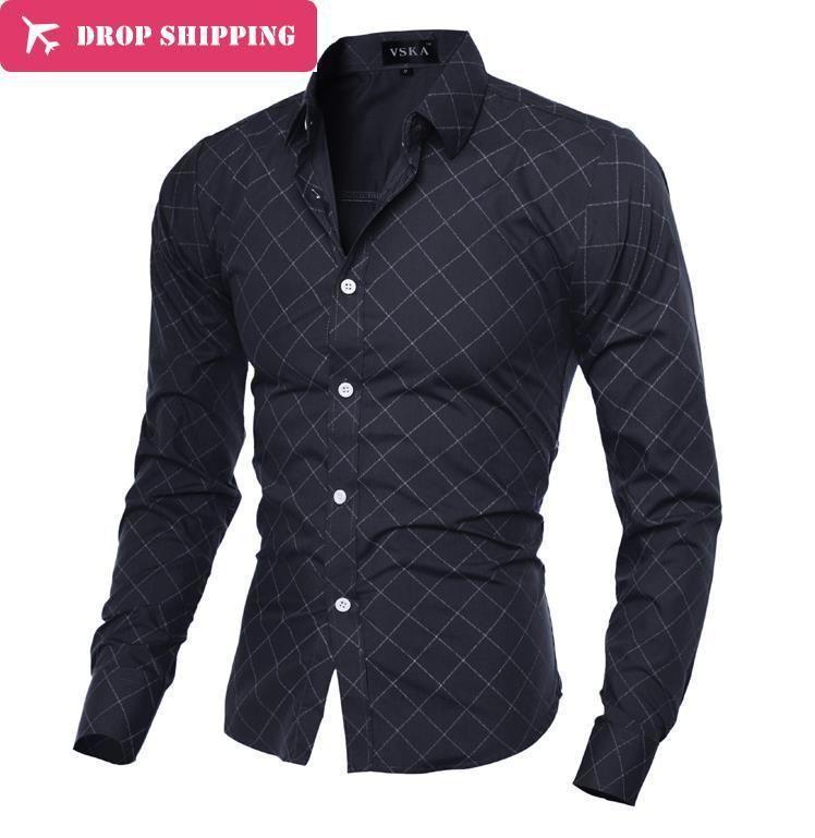 2016 Dropshipping Camisa Masculina 2017 Men's Fashion Slim Fit Casual Shirt Long Sleeve Shirts Printing Men Shirt, Asian Size