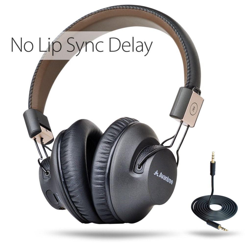Avantree Беспроводной Bluetooth наушники с микрофоном, низкой задержкой быстро аудио APTX гарнитура для игр ТВ PC