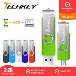 Флеш-накопитель, OTG usb флэш-накопитель techkey 4 ГБ 8 ГБ 16 ГБ 32 ГБ 64 ГБ для android мобильный телефон флеш-накопитель Флешка mini usb 2,0