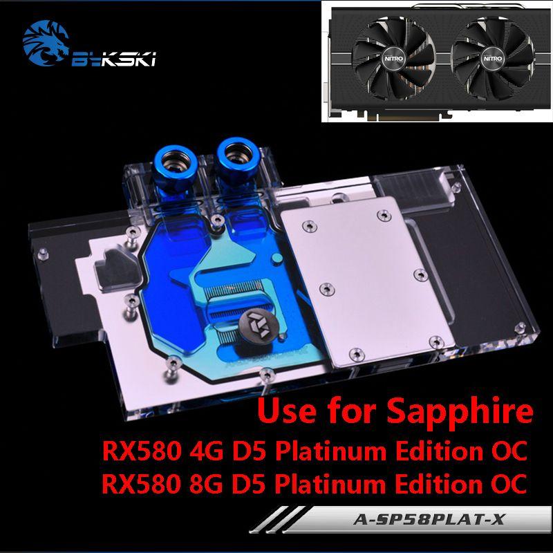 BYKSKI Full Cover Grafikkarte Block verwenden für Sapphire Nitro + Radeon RX 580 8GD5 8 GB GDDR5 (11265-01-20G) kupfer Heizkörper