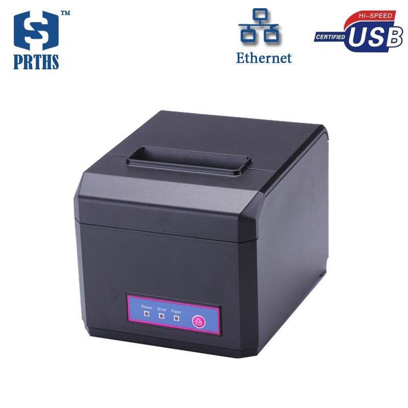 China price pos 80 printer thermal driver with usb+lan port desktop printer cutter support 1D 2D bar code printing used in store