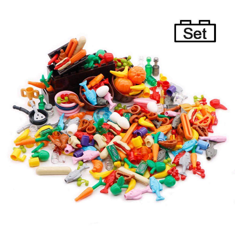 Legoed Food Accessories Friends MOC Building Blocks Drinks Fruit Vegetable Bread Fish Bottle City Parts Bricks Toys For Children